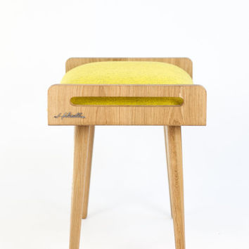 Stool / Seat / stool / Ottoman / bench made of solid oak table, oak legs, upholstered in cold wool yellow