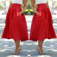 Red Hip Pleat Skirt