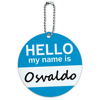 Osvaldo Hello My Name Is Round ID Card Luggage Tag