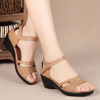 Cowhide  Middle-aged Mother Sandals 2017 Summer New Genuine Leather Female Sandals Large Size 40-43 Women Shoes Casual Wedged