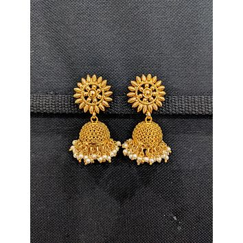 Pearl cluster bead dangle Gold plated Jhumka Earrings