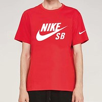 NIKE Summer Fashion Men Casual Print Round Collar Sport T-Shirt Top Red