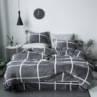 Black white gray Geometric fleece fabrics Bedding set Queen size Bed set Duvet cover Bedsheet Pillowcases