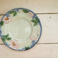 Franciscan china, bread and butter plate, bread plate, fine china, serving dish, blue trim, pink flowers, twilight rose pattern, vintage