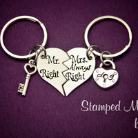 Mr. Right, Mrs. ALWAYS Right - The Original - Hand Stamped Broken Heart Keychain Set - Couple Key Chain Gift - Personalized Wedding Present