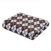 Elegant Baby, 100% Cotton, Tightly Knit Argyle Blanket, 36 x 45 Inch in Baby Blue and Chocolate Brown
