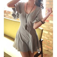 Butterfly Sleeve Simple Style Scoop Neck Solid Color Cotton A-Line Women's Dress