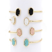 Cute Oval Quartze Copper Bangles White and Blue Turquoise Stone Resin Druzy Cuff Bracelets for Women