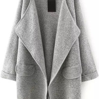 Fall Fashion Grey Lapel Long Sleeve Loose Sweater Coat