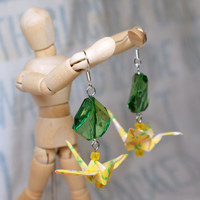 Bright Yellow Hand Folded Origami Crane Earrings with Green Accents