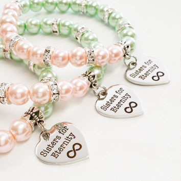 Pink and Green Sisters Bracelets | Sisters for Eternity Jewelry |  Big Sister Gift | Little Sister Gift | Infinity Jewelry