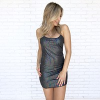 Black Rainbow Shimmer Black Dress