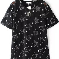Sheer Mesh Star Shaped Cut-Outs Black Top