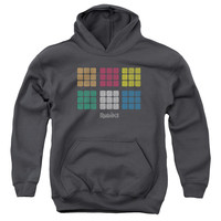 RUBIK'S CUBE/MINIMAL SQUARES-YOUTH PULL-OVER HOODIE-CHARCOAL