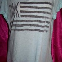 NWT VICTORIA'S SECRET PINK AMERICAN FLAG FOURTH OF JULY BACKLESS SLOUCHY TOP M/L