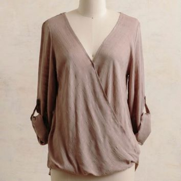 Huntington Gardens Draped Blouse In Beige