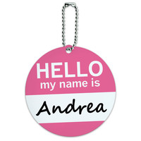 Andrea Hello My Name Is Round ID Card Luggage Tag