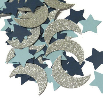 Twinkle star confetti, moons and stars, baby boy, 150 pieces, Ready in 3-5 Business Days, first birthday, Custom Colors