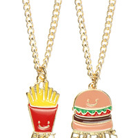 BURGER AND FRIES BFF NECKLACE
