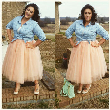 PLUS SIZE Cassie Tulle Skirt, Tea Length Tutu, 7-layers Tulle Skirt, Adult Tutu, Below Knee Princess Tutu - Length 27""