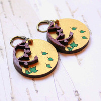 Big Earrings in Gold and Emerald Green Colors with Falling Leaves - Golden Fall - Two layers