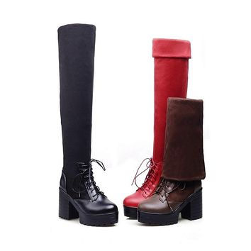 Woman's Chunky Heel Knee High Boots