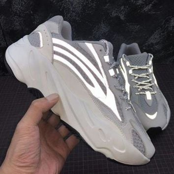 Adidas Yeezy 700 Boost Sneakers Fashion Casual Running Reflective strip Sport Shoes White+Grey