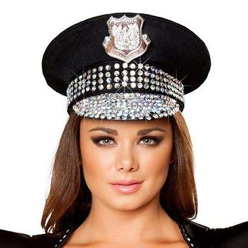 Sexy Studded Police Girl Hat Halloween Accessory