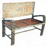 Ford Tailgate Bench - Reclaimed Wood Furniture - Outdoor Patio Furniture by Recycled Salvage Chain Art Design