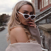 Retro 1990's Shallow Flat Lens Cat Eye Sunglasses