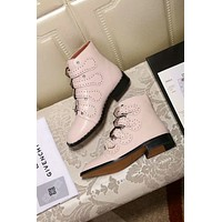 GlVENCHY 2018 autumn and winter flat low heel ankle boots front with rivets female boots F-XIMIN-WMNX pink