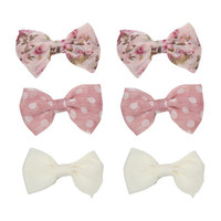 6 On Chiffon Floral Bows   Shop Accessories at Wet Seal