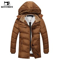 Kenntrice Warm Cotton Padded Jacket Thicken Coat Male Winter Jacket Men's Military Trench Parka Long Hooded Mens Coat