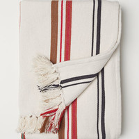 Jacquard-weave Throw - Light beige/striped - Home All | H&M US