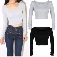 women long sleeve cropped top t-shirt belly tops blouses shirts hot D_L = 5658140353