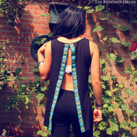 Bohemian Top Cut Out Open Back Shirt Slit Sequins Black Tank Boho Hippie Layering Upcycled Recycled Clothing OOAK by TheBohemianDream