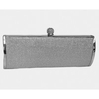Silver Textured Glitter Top Lock Barrel Clutch