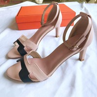Hermes Classic Women Leather Ankle Strap Sandals High Heels Shoes