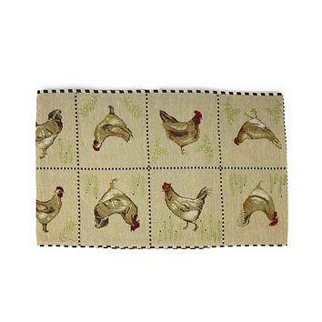 Tache Country Farmhouse Rooster Hens Woven Tapestry Table Runners (13139TR)