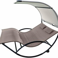 Eclipse Collection Double Chaise Rocker - Aluminum (Cocoa) New