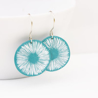 Turquoise abstract dangle earrings, organic polymer clay jewelry, sterling silver