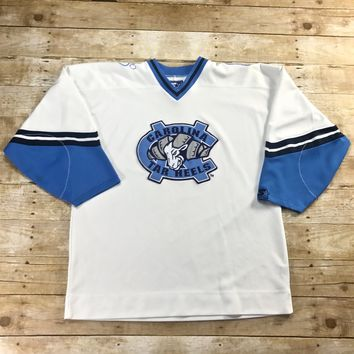 Vintage 90s Starter North Carolina Tar Heels White Hockey Jersey Mens Size Large