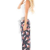 Navy with Flower Cow Skull Print Drawstring Casual Pants