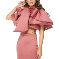 Exaggerated Bow Tie Cropped Scuba Mini Skirt Set