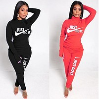 NIKE Women Casual Fashion Top Sweater Pullover Pants Trousers Set Two-Piece