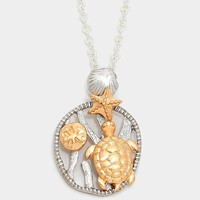 Two Tone Metal Starfish & Turtle Pendant Necklace