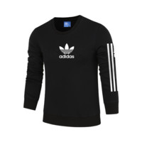ADIDAS Clover autumn and winter striped breathable sports and leisure pullover sweater Black