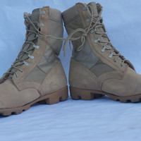 Military Combat Suede Leather Boots Desert Sand Tan size 14W