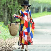 EaseHut Women Retro Ethnic Dress Printed Long Sleeve Maxi Gown New Autumn Vintage Loose Casual Oversize Robe Vestido Mujer