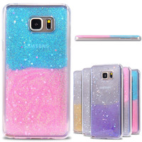 Clear Back Glittering Phone Case For Samsung Galaxy Note 5 N9200